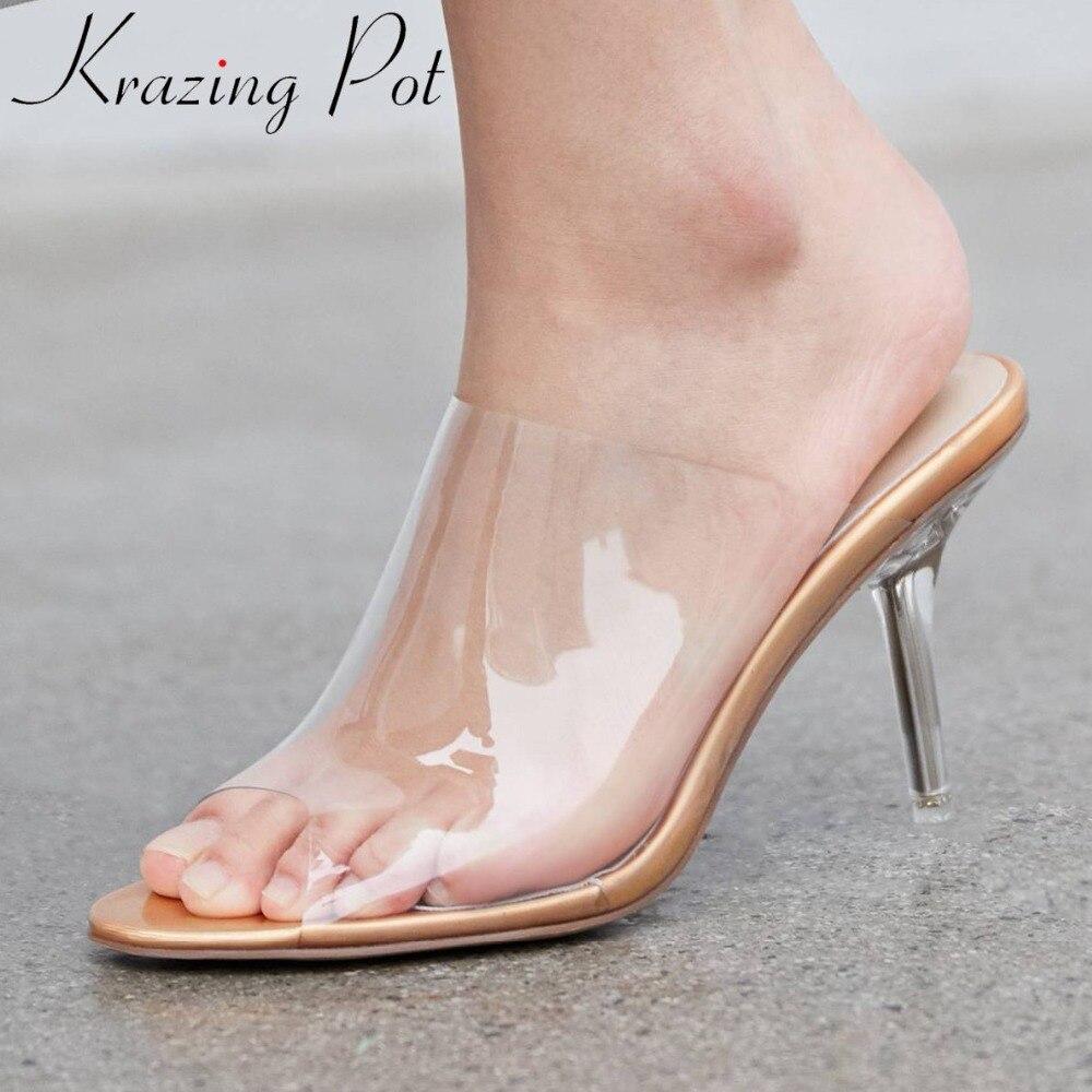 Krazing Pot peep round toe stiletto high heels jelly shoes slip on mules plus size European