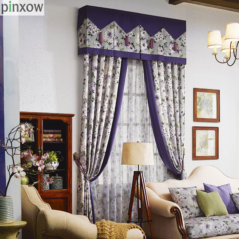 Purple Rustic Country Curtains Bedroom Ready Made Window Panel Curtains  Living Room Luxury Print Fabric Drapes Cotton Linen New