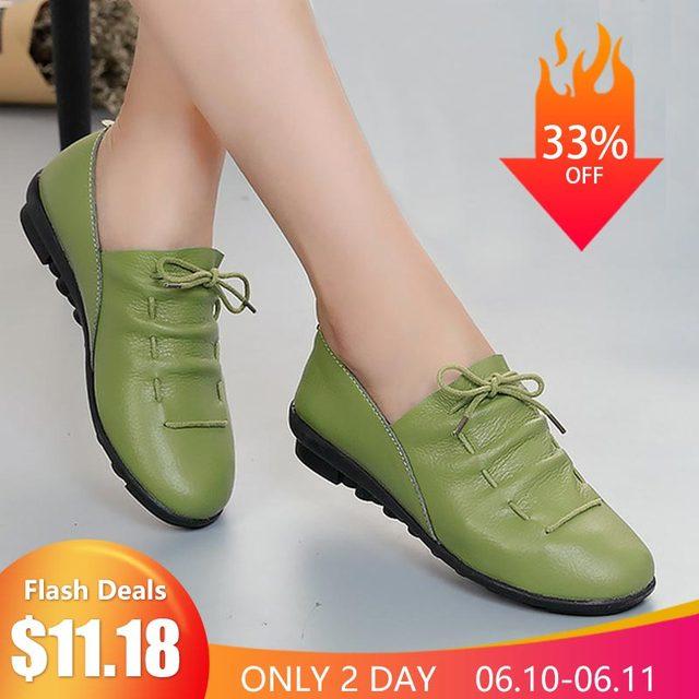 Scarpe da donna 2019 nuova molla di arrivo lace-up pieghe del cuoio genuino appartamenti di scarpe da donna di gomma del partito femminile scarpe tenis feminino
