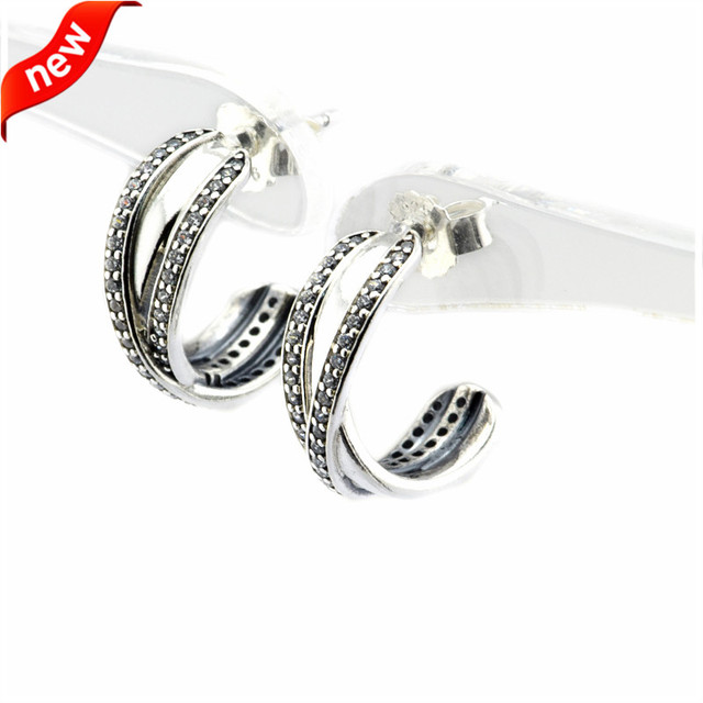 Fits European Jewelry CKK 925 Sterling Silver Hoop Earrings for Women DIY Making Entwined Silver Earring Wholesale FLE077