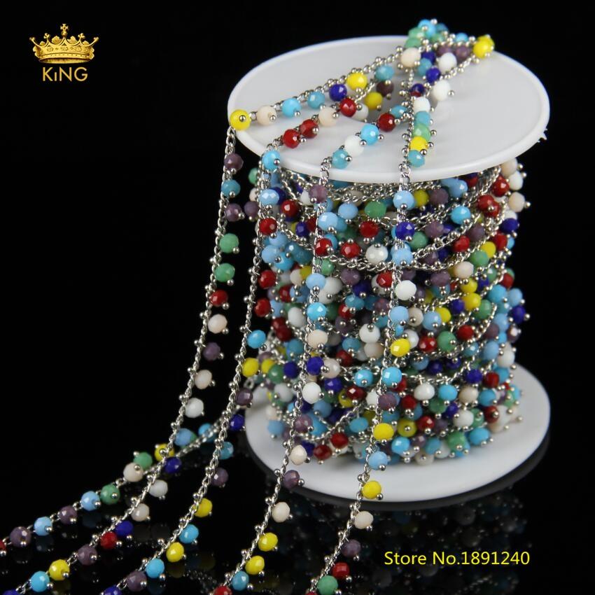 5 метров 3x4 мм яркие Стекло провод обернутый граненый Rondelle Стекло с серебряной Медь Ссылки Цепочки с бусинами Jewelry браслет HX126