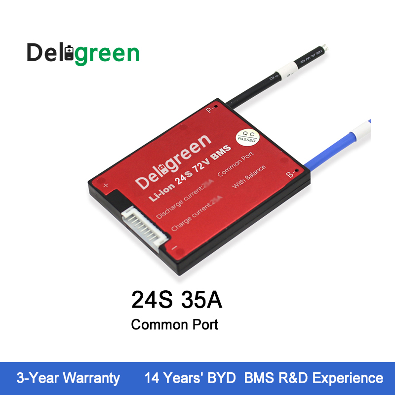 Deligreen 24S 35A 72V BMS for 3.2V Rated e Bike lithium battery pack BMS charging voltage 87.6V with balance