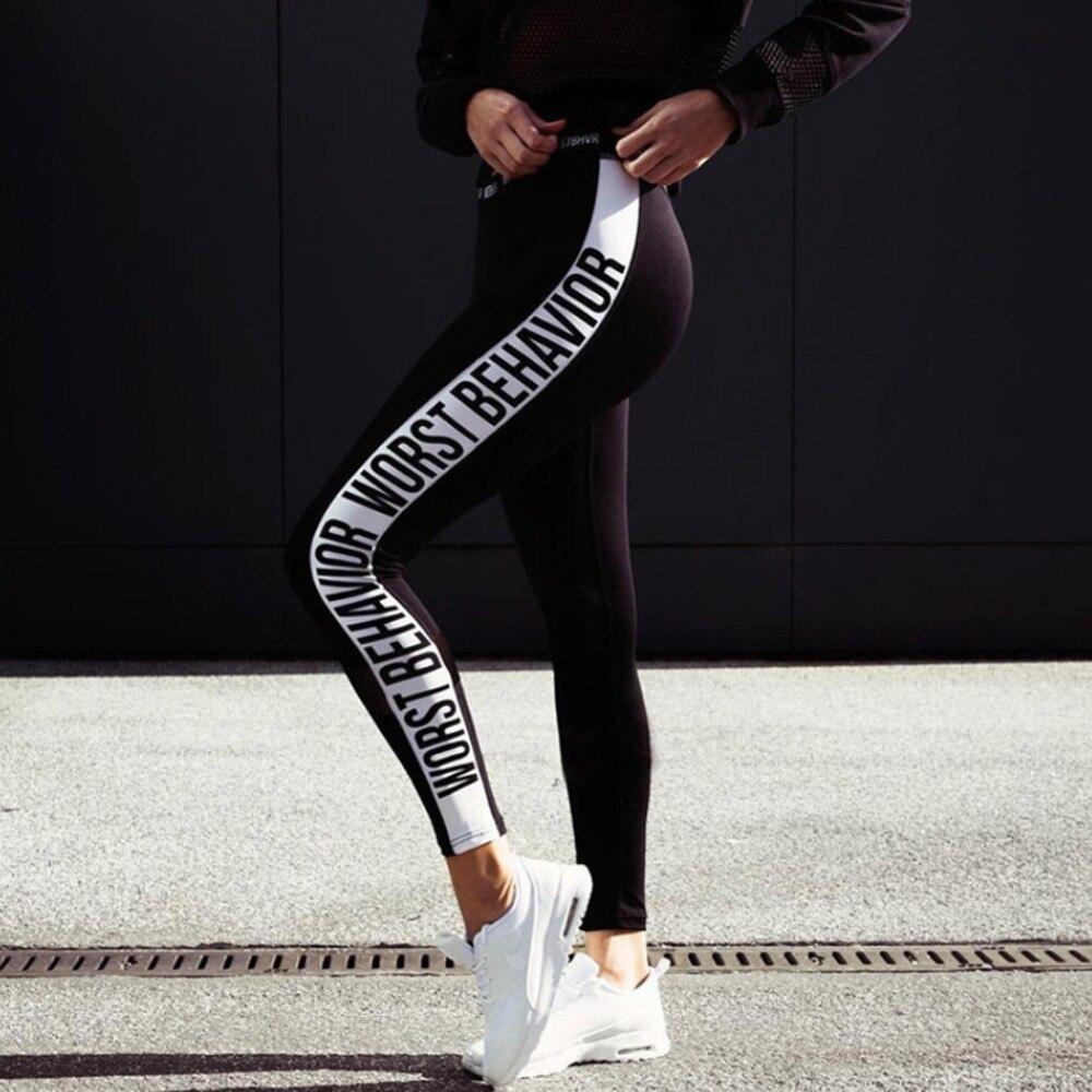 Slim Black Color White Letters Fashion Push Up Workout Leggings Slim Polyester V-Waist Jeggings Women WORST BEHAVIOR Letters