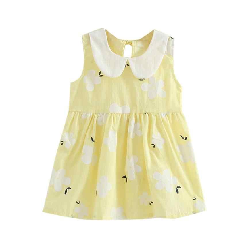 Meninas da criança vestido de princesa de verão crianças bebê festa de casamento vestidos sem mangas vestido de princesa 15