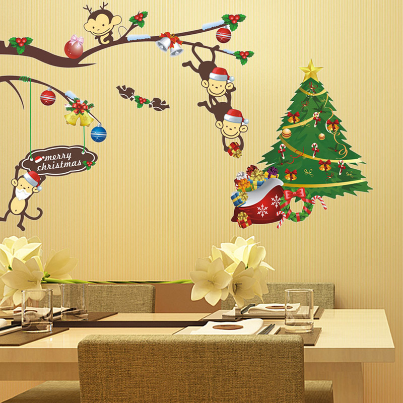 Colorful Cute Monkey U0026 Christmas Tree Wall Sticker Christmas Party  Wallpaper Wall Decal Home Festival Decoration 25cm*70cm*1 In Wall Stickers  From Home ...