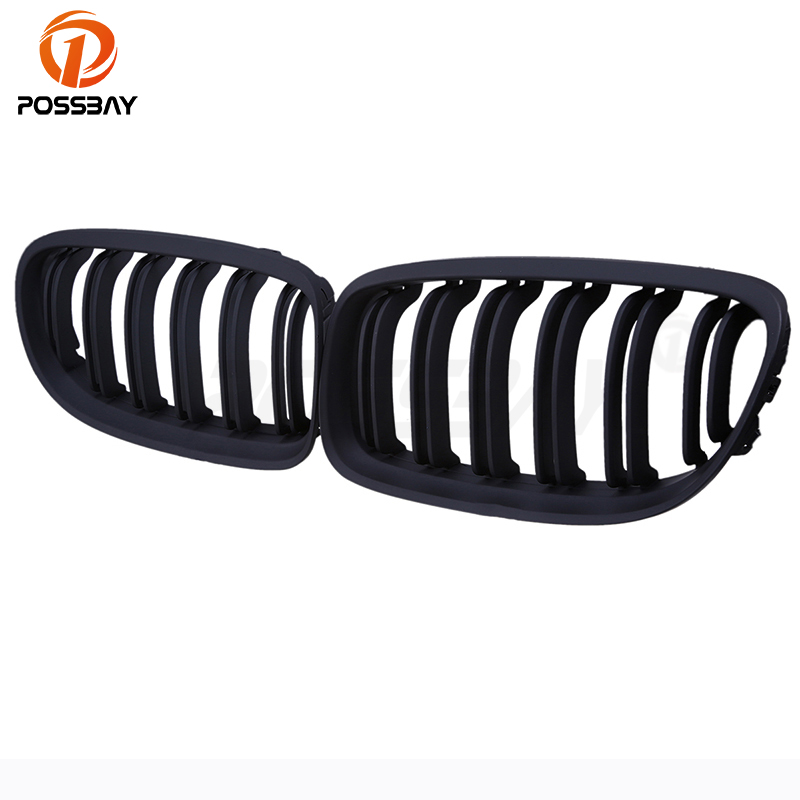 POSSBAY Fit for BMW 3-Series E90 Sedan 2008-2011 Facelift Double Rib Front Bumper Kidney Grille High Quality Car Center Grills button front rib knit top