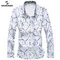 ШАО БАО бренд clothing мужская повседневная печать рубашку с длинными рукавами лацкан 217 весной и осенью большой размер хлопка рубашка белый синий