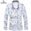 SHAO BAO brand clothing men's casual printing long-sleeved shirt lapel 217 spring and autumn large size cotton shirt white blue