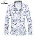 Shao bao marca clothing impressão ocasional dos homens longa-camisa de mangas compridas lapela 217 primavera e no outono de algodão tamanho grande camisa azul branco