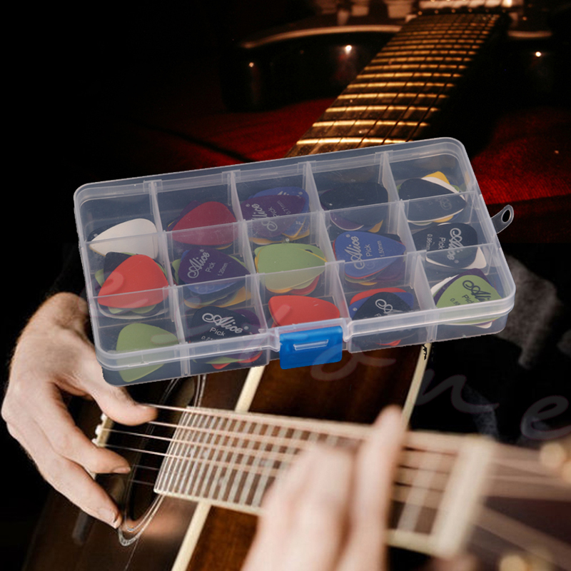 100pcs Acoustic Electric Guitar Picks Plectrum Various 6 thickness w/ Pick Box