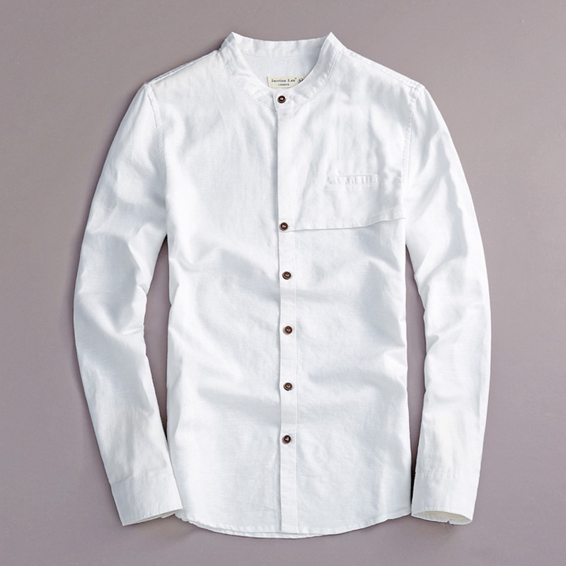 2017 Doğal uzun kollu gömlek erkekler keten beyaz standı yaka - Erkek Giyim