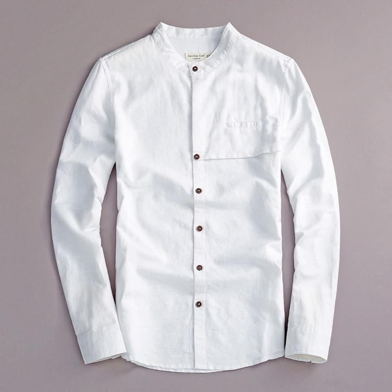 2017 Natural long sleeve shirt men linen white stand collar casual men shirts cotton fashion mens shirt brand camisa masculina