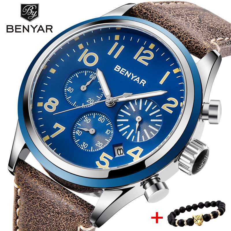 BENYAR Top Brand Luxury Men Business Leather Watch Army Military Chronograph Watch Male Quartz Wrist Watches Erkek Kol Saati high quality men s genuine leather band watches business sport analog quartz wrist watch mens watches top brand luxury kol saati