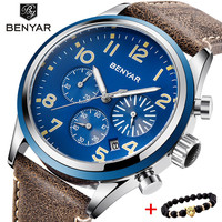 BENYAR Top Brand Luxury Men Business Leather Watch Army Military Chronograph Watch Male Quartz Wrist Watches Erkek Kol Saati
