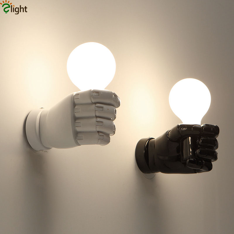 Modern Novelty Fist Led Wall Lamp Lustre Painted White Black Resin Led Wall Light Wall lights For Corridor Bedroom Wall Lighting