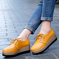 ROEGRE New Fashion Women Casual Platform Shoes 2017 Korean Style Ladies PU Leather Shoes Black White Yellow Height Increasing