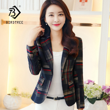 New Arrival Women Blue Plaid Notched Long Sleeve Single Button Jacket Office Lady Elegant Fashion Short Tops Hot Sales C86910F