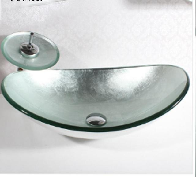 rustic silver hand made tempered glass bathroom vessel sink basin oval waterfall tap faucet