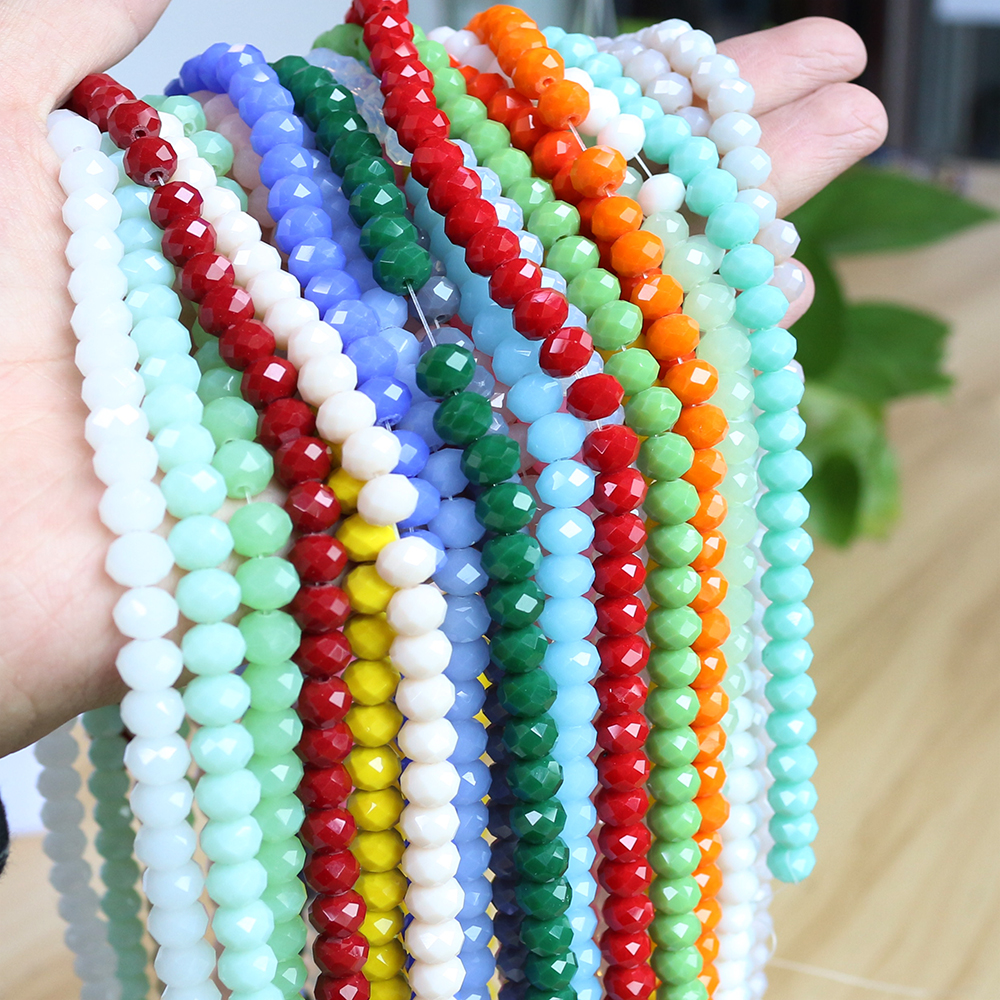 8MM 70PCS Bicone Round Glass Stand Loose Beads Rondelle Faceted Crystal Spacer
