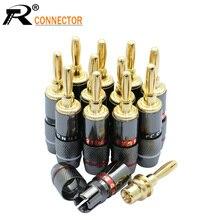 12 adet hoparlör muz fiş konnektörü 24K altın kaplama bakır hoparlör adaptörü ses Video muz konnektörleri