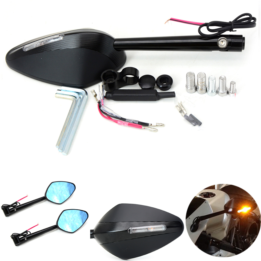 for Motorcycle Integrated Turn Signal Mirrors Side Rearview Mirror Front Back <font><b>LED</b></font> Universal For Honda CBR600 F2 <font><b>F3</b></font> F4 F4I VFR800