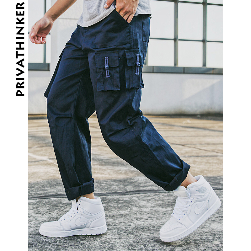 Privathinker Men Cargo Pants 2018 Mens Big Pockets Hiphop Joggers Pants Male Japanese Streetwear Autumn Harem Pants Trouser-in Cargo Pants from Men's Clothing