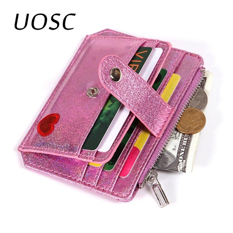 UOSC Cute Heart Women Laser Coin Purse Mini Small Clutch Card Holder Bags Wallet Carteira Femme Feminina Mujer Girl Teenager