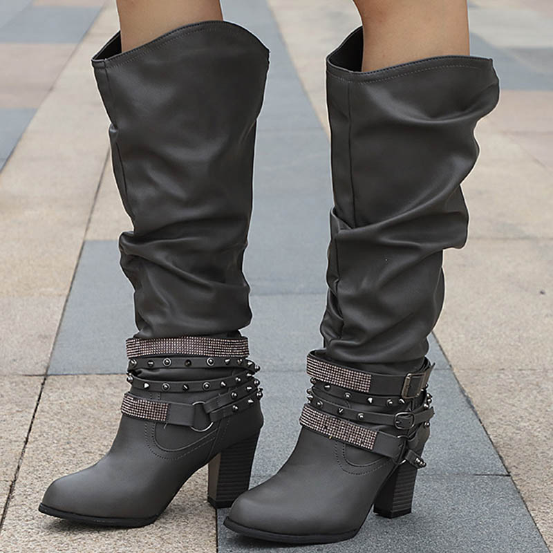 Women Rivet Crystal Buckle Chunky Heel Autumn Mid Calf Boots Plus Size Ladies Slip On High Heels Female Platform Fashion Shoes sorbern 17cm square chunky high heel mid calf boots lace up round toe women boots chunky platform boots plus size women autumn