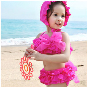 Children Girls Kids bathing suits 3-7 Years Bikini Swimwear 2015 New pleated skirt bowknot+cap 3piece swimsuit - The love in the East store