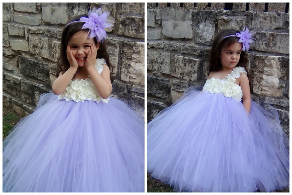 Little Girls Flower Dress Baby Crochet Layers Purple Tutu Dress Ball Gown with Flowers and Headband