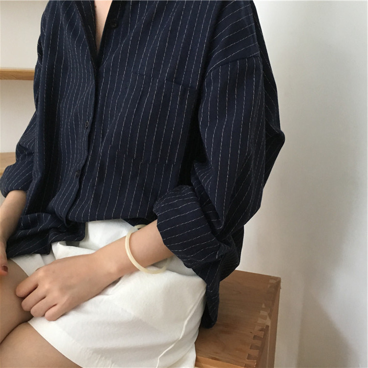 19 Mazefeng Spring Autumn Female Shirts Women Striped Shirts Office Lady Style Women Shirts Solid Fashion Long Sleeves 13