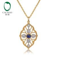 Caimao Milgrain ободок натуральный кабошон огранки синий сапфир алмазный кулон 14 К желтого золота Изысканная цепочка Винтаж Jewels