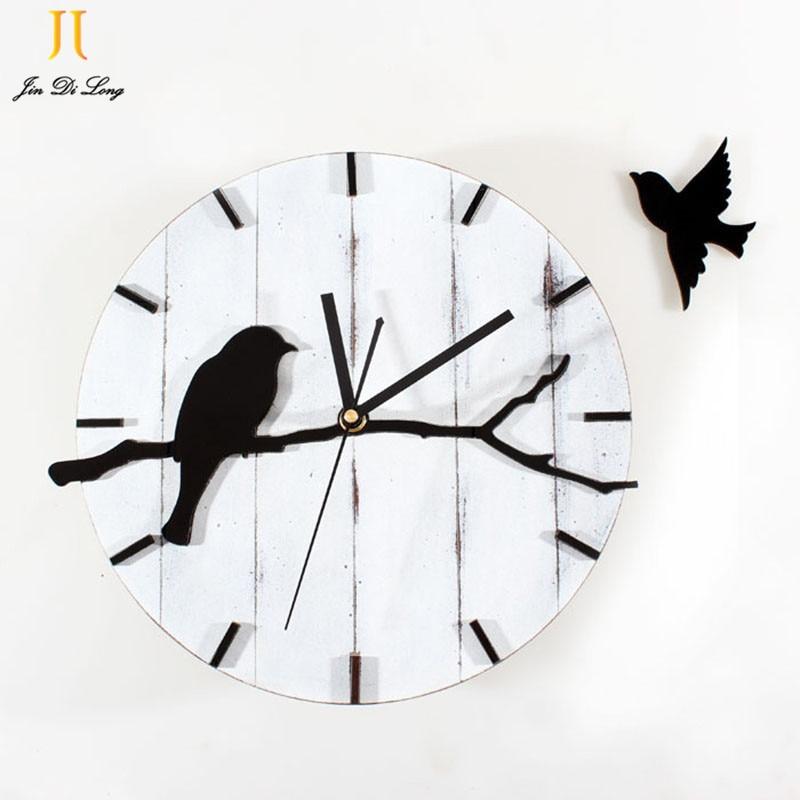 Retro Jam Dinding Lucu Gaya Burung Kayu Gantung Diam Diam Clock Vintage  Seni Dekorasi Rumah Jam efe789748a