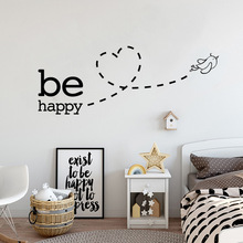 цена на Be Happy flying bird Heart Wall Sticker for kids room bedroom decoration home art Decals wallpaper Removable stickers