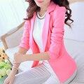 Мода Весна Осень Женщины Пиджаки И Куртки Костюм Одной Кнопки Blaser Женский Белый Черный Розовый Голубой Дамы Пиджак Femme пальто