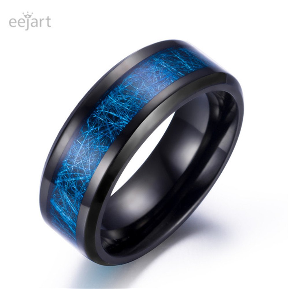 Eejart нержавеющая сталь синий Декор полосы обещание обручальное кольцо для мужчин