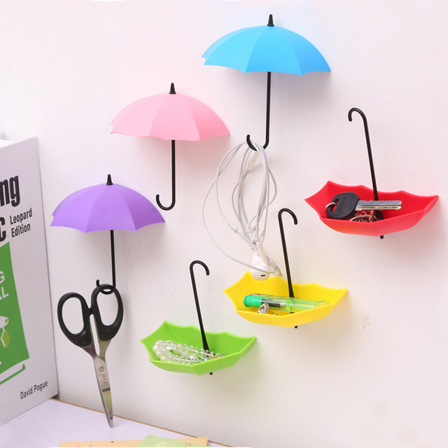 Hourong 3Pcs Creative Umbrella Single Wall Hooks Nail Storage Hook ...