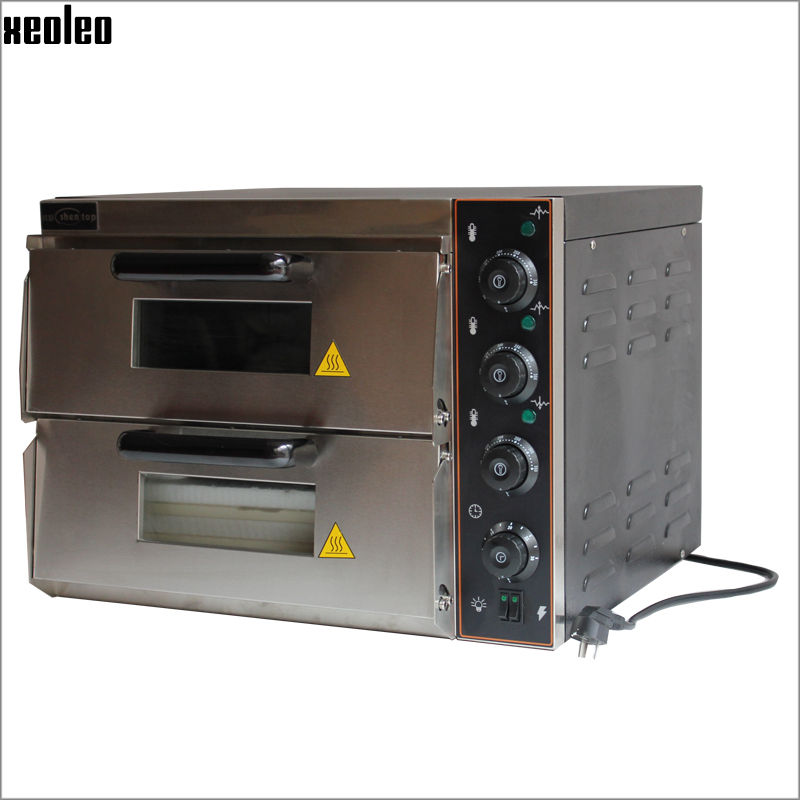 xeoleo commercial electric pizza oven 3000w220v double horizontal pizza stove stainless steel hot plate oven with timer controlin ovens from home