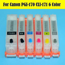 6 PCS/Lot 170 171 PGI-170 CLI-171 Ink Cartridge With ARC Chip For Canon PIXMA MG7710 Printer