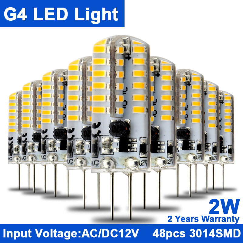 KINDOMLED 10pcs G4 LED 12 V AC&DC LED Light Bulbs 2W 3W SMD3014 Light 360 Beam Angle Chandelier Lights Replace Halogen Lamps