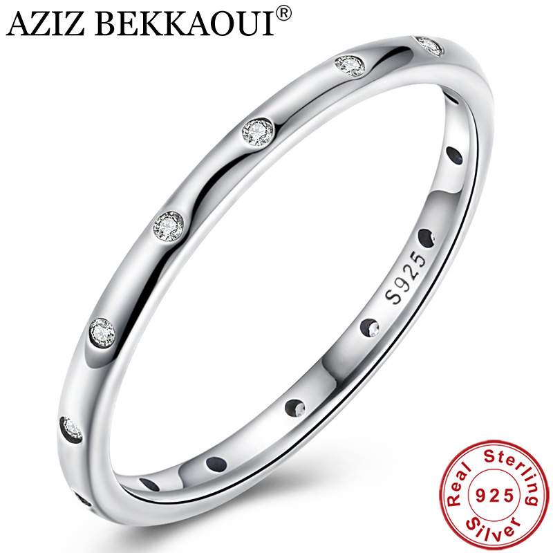 Classic-Ring Engagement Jewelry Stackable Finger 925-Sterling-Silver Women Original