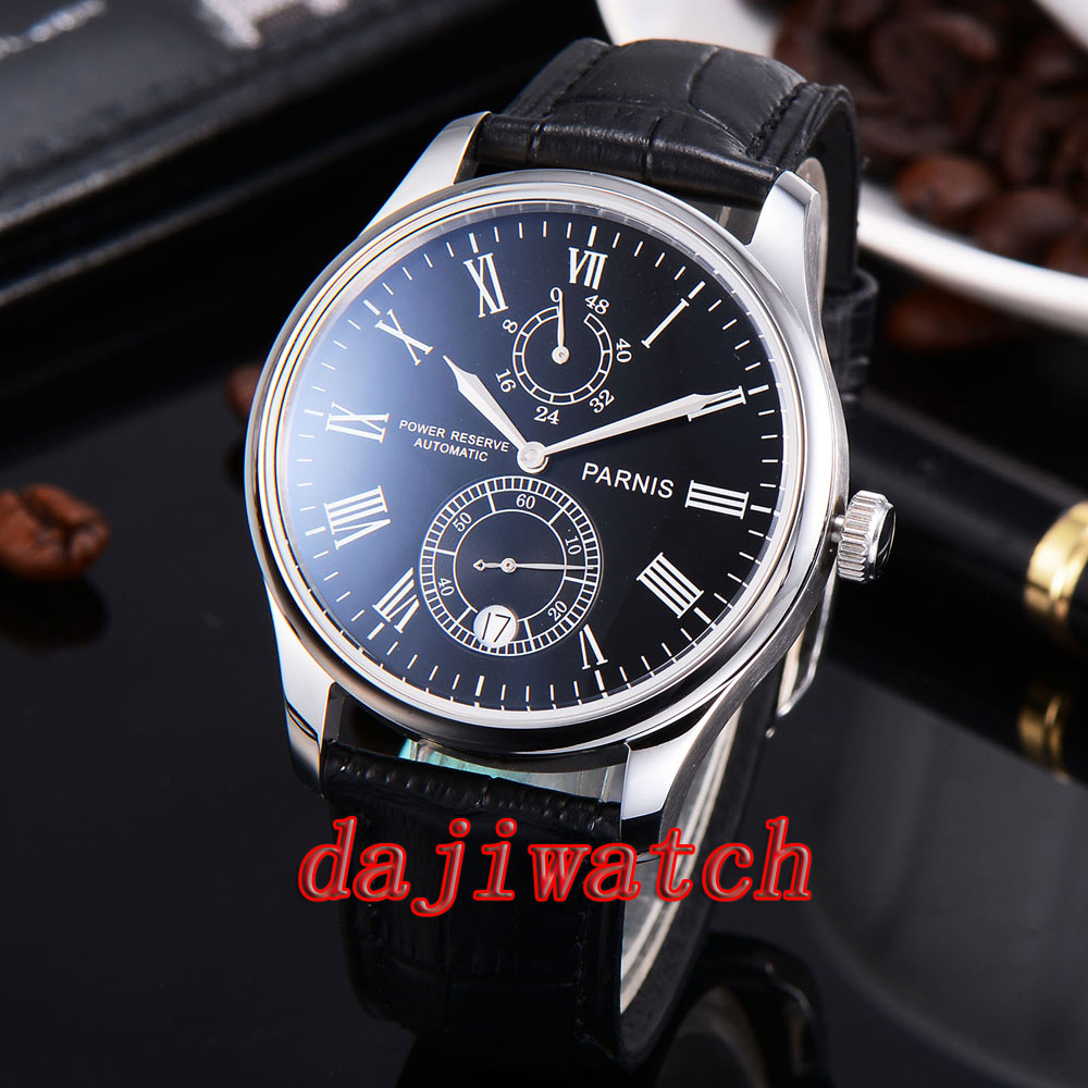 Parnis 43mm watch Power Reserve white/black dial mechanical Automatic Mens Watch Leather Strap цена