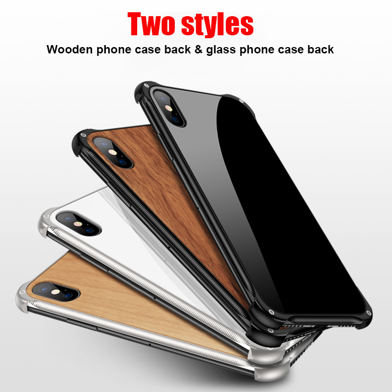Suntaiho Luxury Galss Case For iPhone XR Case for iphone XS  For iPhone 8 Plus Phone Case Xs Max 7 8 Cover wood metal Case