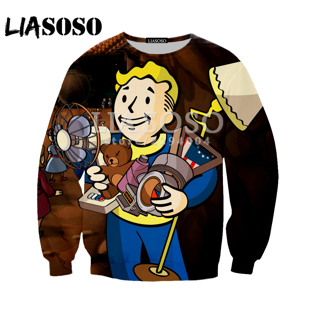 LIASOSO New fashion Fallout Finger Hoodies men/women Sweatshirts 3D Printed Hooded Tops funny style Streetwear Pullovers Y144