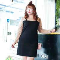 Super Large Code Women S Backing Straps Mini Fake Two Suits Black Dress 495