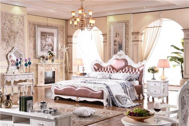 Chłodny Royal meble do sypialni z litego drewna łóżko z prawdziwej skóry HU32