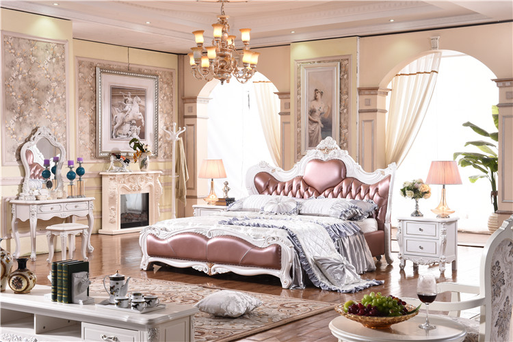 Royal Bedroom Furniture Solid Wooden Genuine Leather Bed Luxury Wooden Bed Furniture  Buying Agent Wholesale Price