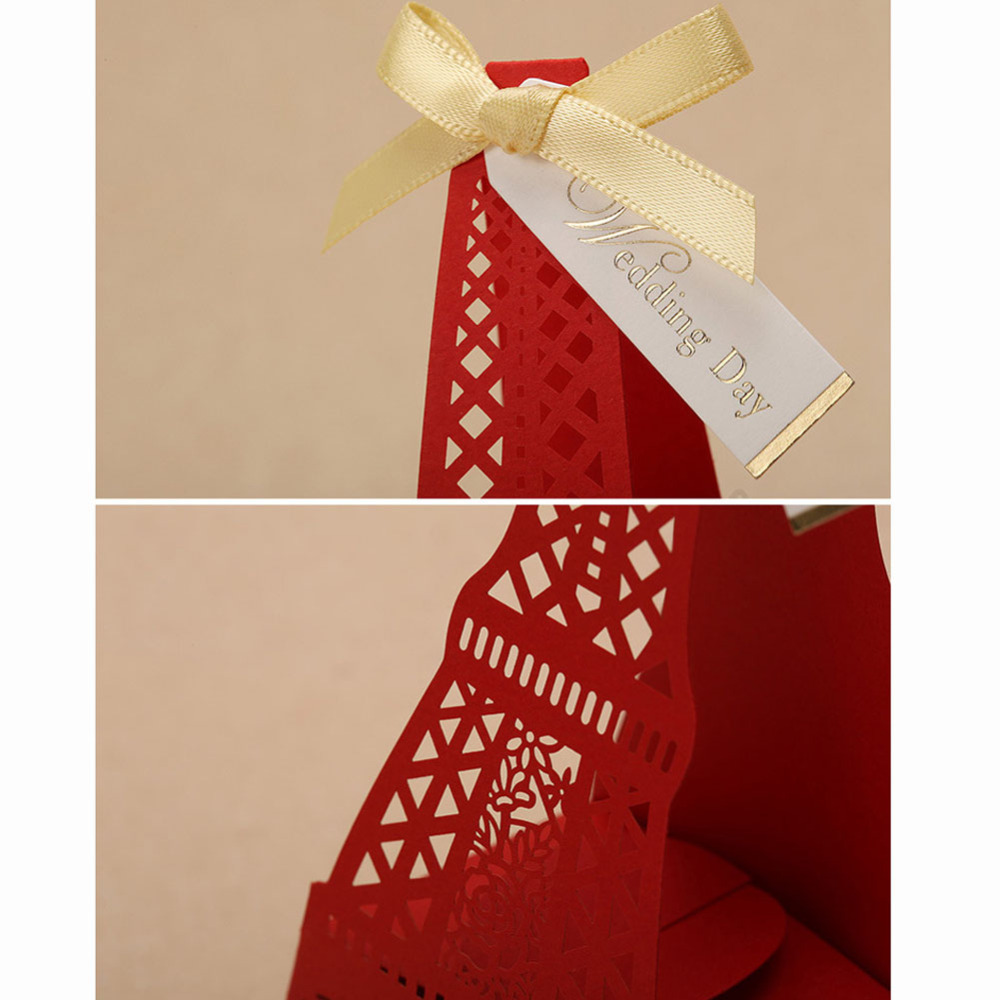 Wedding Candy Favors Box Laser Cut Eiffel Tower paper box 50pcs free ...