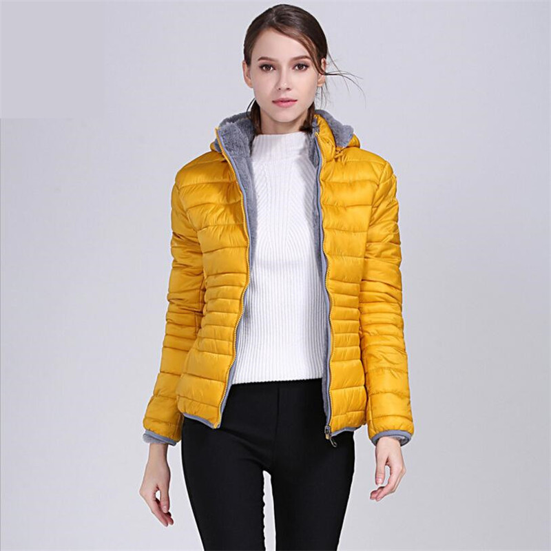 Women Winter Yellow Coat New White Duck Down Jacket Whit Fur Collar Slim Winter Down Portable