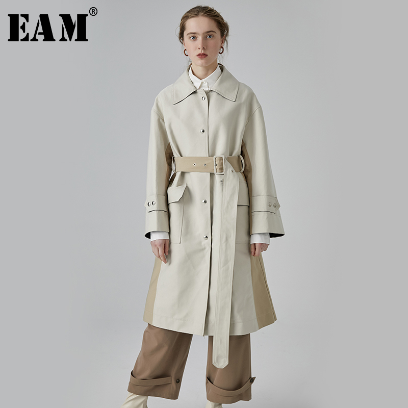 [EAM] 2019 New Spring Summer Lapel Long Sleeve Beige Waist Bandage Loose Big Size Long Windbreaker Women   Trench   Fashion JX142